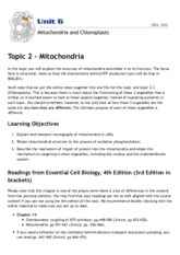 Topic 6.2 & 6.3 - Mitochondria and Chloroplasts