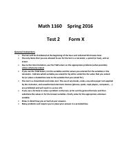 Test 2 Cover Sheet Spring 2016