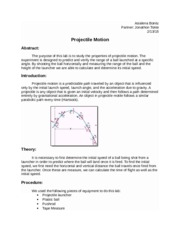 projectile motion lab report