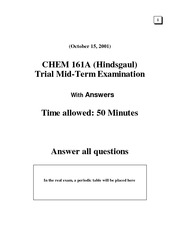 Chem 161 Sample Midterm