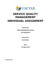SERVICE QUALITY MANAGEMENT