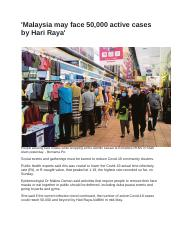 'Malaysia may face 50,000 active cases by Hari Raya'.docx