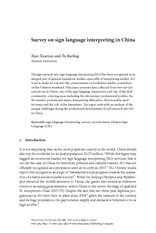 assignment reading - Survey on sign language interpreting in China