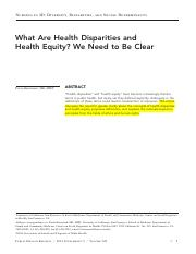 Braveman-What are Health Disparities and Health Equity