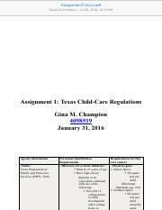 Assignment 1 Texas Child-Care Regulations