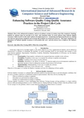Enhancing software quality using Quality assurance practices in the project lifecycle