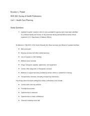 Unit 1-Health Care Planning
