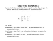 Lesson 7a - Piecewise Functions and Absolute Values