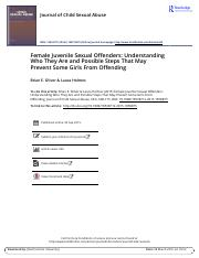 Female Juvenile Sexual Offenders Understanding Who They Are and Possible Steps That May Prevent Some
