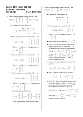 Exam 4 Version A Spring 2013 on Differential Equations