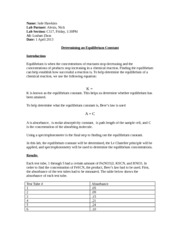 equilibrium lab report Step by step guide with examples of how to properly create a scientific lab report.