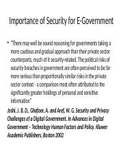 Importance of Security for  E-Government