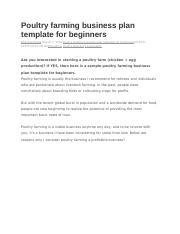 Poultry production business plan sample wg 3707 resume