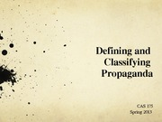 Defining and  Classifying  Propaganda powerpoint