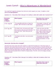 Alice's Adventures - Questions & Worksheet.doc
