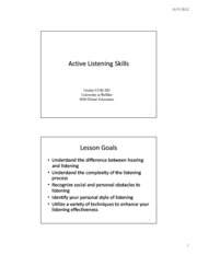 Lecture 14 & 15 - Active Listening & Social Support