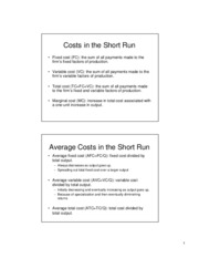 costs short run