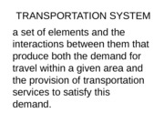 TRANSPORTATION SYSTEM - Introduction