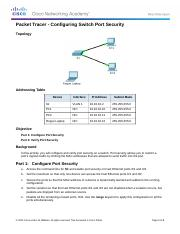 5.2.2.7 Packet Tracer - Configuring Switch Port Security Instructions.docx