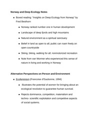 Norway and Deep Ecology Notes