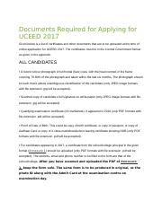 Documents Required for Applying for UCEED 2017