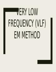 Very low frequency (vlf) em method