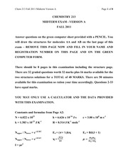 CHEM 213 Fall 2011 Midterm 1 Version A Solutions