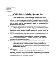 APUSH Jackson's Indian Removal Act.