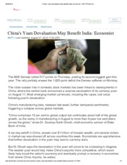 Chinas Yuan Devaluation May Benefit India_ Economist - NDTVProfit