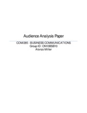 Audience Analysis Paper