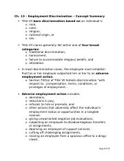 Ch 13 - Civil Rights & Employment Discrimination - Concept Summary.docx