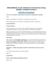 MIS 528 Week 5 iLab Database Construction Using MySQL Complete Answers.docx