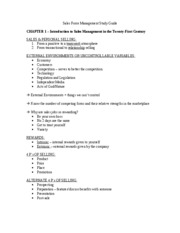 Sales Force Management Study Guide Final