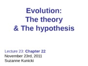 Lecture 23 Theory of Evolution (Darwin & Wallace)