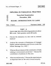 (www.entrance-exam.net)-IGNOU Diploma in Paralegal Practice - Introduction to Laws Sample Paper 3.pd