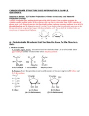 Carb Struct Quiz Info and Sample Qs S15