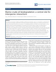 McGenity ea 2012 Marine crude-oil biodegradation- a central role for interspecies interactions