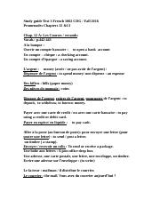 Study guide Test 3 French 1002 CD promenades Spring 2015