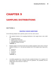 Study Guide with Answers - CH 9 - Sampling Distributions