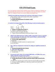 FIN 370 Final Exam (5th Set) 40 Questions with ANSWERS
