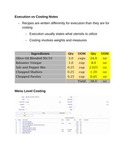Execution vs Costing Notes