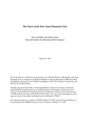 The onset of the east asian financial crisis