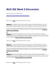 BUS 302 Week 9 Discussion