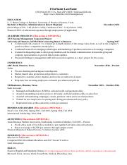 Bauer Resume Format And Action Verb List Pdf Firstname