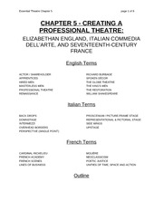 Chapter 5 Lecture on Creating a Professional Theatre