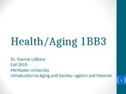 1BB3  fall 2015 Ageism and Theories