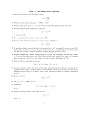 Practice Final Exam on Single Variable Calculus Fall 2009