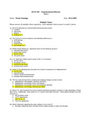 Organizational Behavior Midterm -Fall 2009