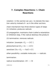 Chemical Kinetics Lecture 7