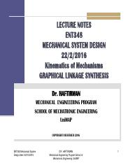 Lecture 2 Graphical Linkage Synthesis Pdf Lecture Notes Ent348 Mechanical System Design Kinematics Of Mechanisms Graphical Linkage Synthesis Dr Course Hero
